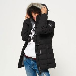superdry toggle puffer jacket long Dark Navy small